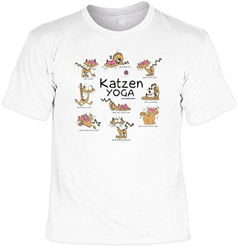 Fun T-Shirt Katzen Yoga Shirt bedruckt Geschenk Set mit Mini Flaschenshirt Weiß