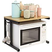 Multi-funzione moderna cucina scaffale forno a cremagliera Forno a microonde cremagliera a 2 piani con 4 ganci Rack di stoccaggio scaffali di stoccaggio scaffali scaffale (L57cm X W38cm X H38cm)