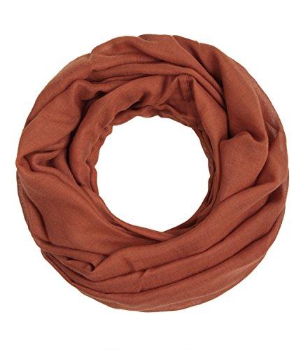 Majea Loop Cary Basic Schal Tuch Damen-schal Schlauchschal Rundschal Halstücher uni unifarben Loopschal einfarbig (rostbraun)