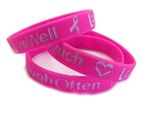 www.wristbandsforyou.com Live Well Love Much Laugh Often Pink Breat Cancer Awareness Armband