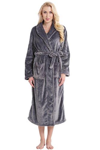 Aibrou pyjama femme polaire Robe chambre homme longue Hiver sortie de bain peignoir pas cher personnalisé Violet EU36-38 Gris foncé