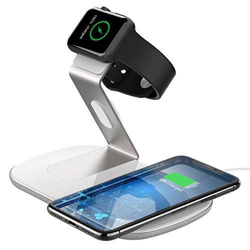 Holife caricabatterie wireless per apple watch e cellulari, 2 in 1 fast wireless charger ricarica rapida per iphone xs/x/xs max/xr/8/8 plus, galaxy s9/s9+/s8/s8+/note 9/8/s7[adattatore non incluso]