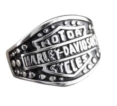 Lovelegis Herrenring - Ring für Herren - Motorradfahrer - Metaller - Harley - Motor Cycles - Punk - Rock - Hard - Metall - Silberne Farbe - Messen - Ringgröße DE 56 (17.8)