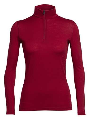 Icebreaker da donna a manica lunga Oasis con mezza Zip Base Layer, donna, Oasis Long Sleeve Half Zip, Oxblood, S