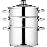 Kitchen Craft Clearview - Vaporera de 3 pisos (acero inoxidable, 22 cm)