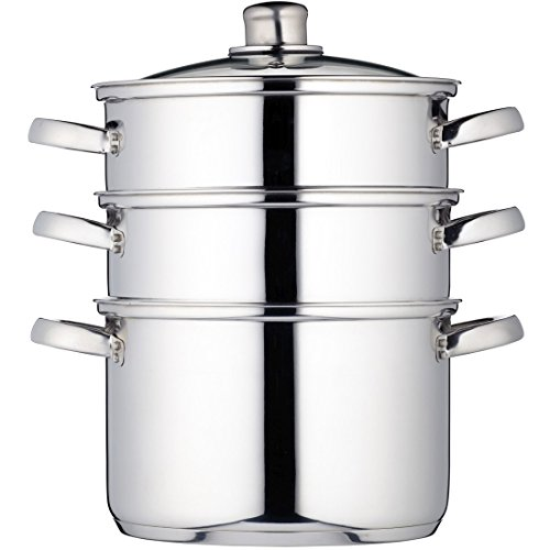 Kitchen Craft Clearview - Vaporera de 3 pisos (acero inoxidable, 22 cm)