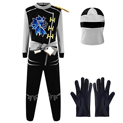 Kostüm Zane Ninjago - Katara 1771 - Ninja Kostüm Anzug, Kinder, Verkleidung Fasching Karneval, Größe M, Grau Schwarz