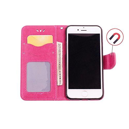 iPhone X Custodia, CXTcase Portafoglio in pelle PU Cover con Tasca per carta Chiusura Magnetica e Copertura Pieghevole Case per iPhone X 2017 Unicorno Glitter Rosa Rosa