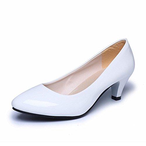 FEITONG Damen Pumps | Stiletto Mid-Heels | Bequem High Heel Basic Pumps Büro Kleid Schuhe (35, Weiß) (Kitten Heel Kleid Schuhe)