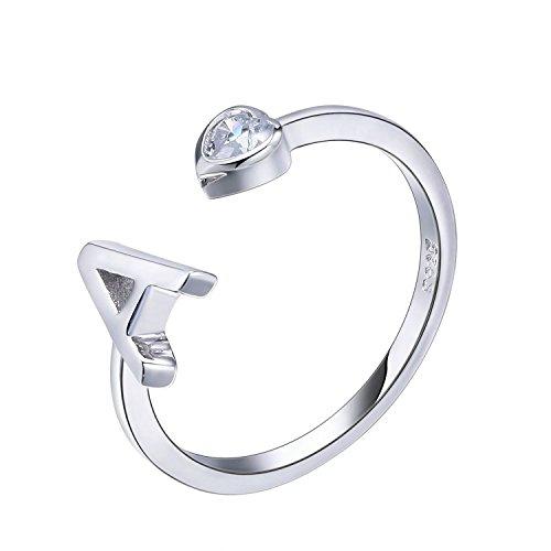 Viki lynn - anello da donna in argento sterling 925, regolabile, misura j e 925, 49 (15.6), colore: letter a, cod. aqer002165