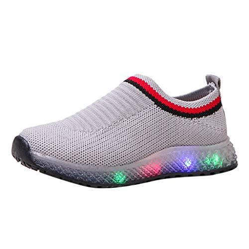 BoyYang Kinder LED Schuhe Licht Auf Casual Sportschuhe Mode Atmungsaktives Mesh Blinkende Sneaker Turnschuhe Ausbilder Outdoor Schuhe Für Die Baby Jungen Mädchen (30,Grau)