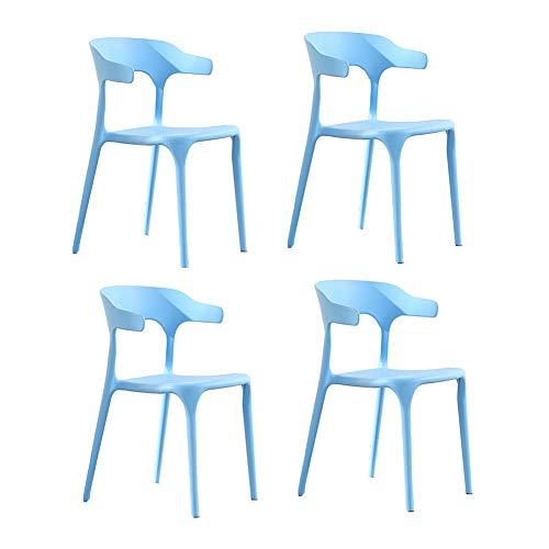 Dall Stühle Moderner Essensstuhl Kunststoff Freizeitstuhl Restaurant Dauerhaft Pack-4 (Farbe : Hellblau) - Kunststoff-stuhl Moderner
