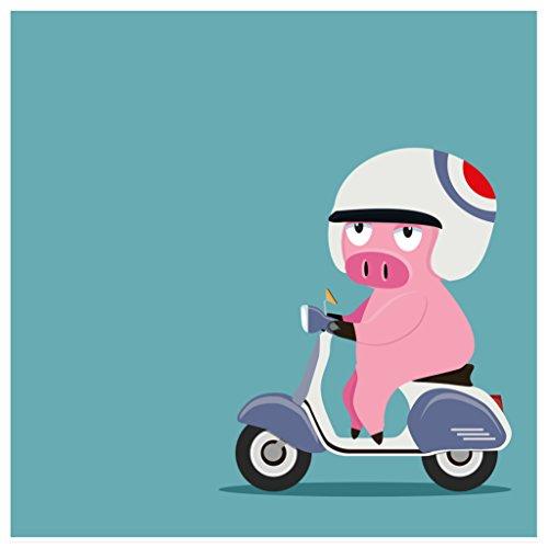 Topposter Poster für Kinderzimmer - Schweinchen auf Rolle (Poster in Gr. 60x60cm)