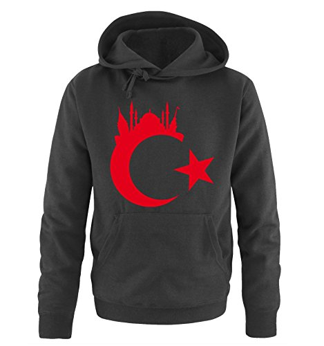 Comedy Shirts Türkei - Wappen - Istanbul - Herren Hoodie - Schwarz/Rot Gr. 3XL
