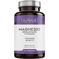 Magnesio con Vitaminas B6 y C | Bisglicinato de Magnesio 100% Biodisponible | 120 Cápsulas de 750 mg | Nutralie