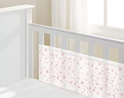 Luftdurchlässiges Babynest, Kopf/Fussteil massiv, Sterne Rosa -