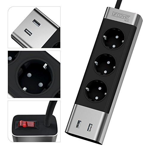 Urcover® Tech Mehrfachstecker mit USB Ports Mehrfachsteckdose Schwarz Grau edel dreifach Steckerleiste elegant Steckdosenleiste Steckdose USB Anschluss Space Grey