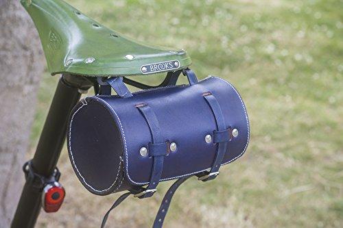 L04 - Sillín de Piel para Bicicleta, Diseño de Londres, Color Azul Marino
