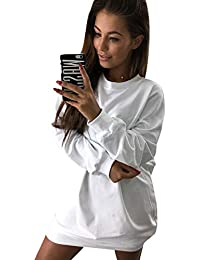 Sweatshirt Damen Lang Lange Pullover Kleid Damen Longpullover Pullis  Langarm Oversize Long Sweatshirts Kleid Longpullis Sweatkleid 87c7e732a3