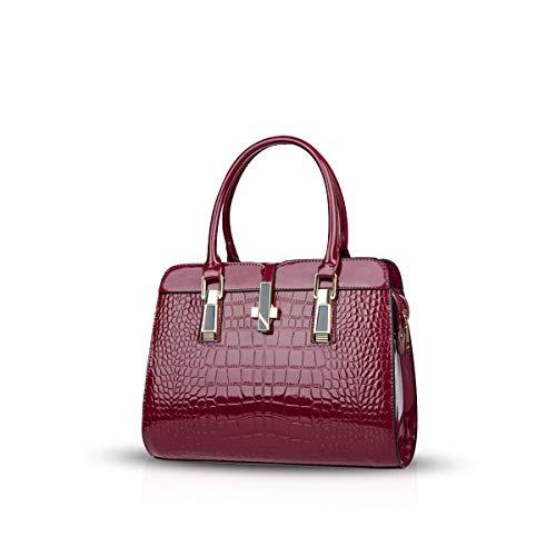 Nicole&Doris Damen Handtaschen Umhängetasche Lackleder Shell Schultertasche Henkeltaschen Tasche für Frauen Weinrot