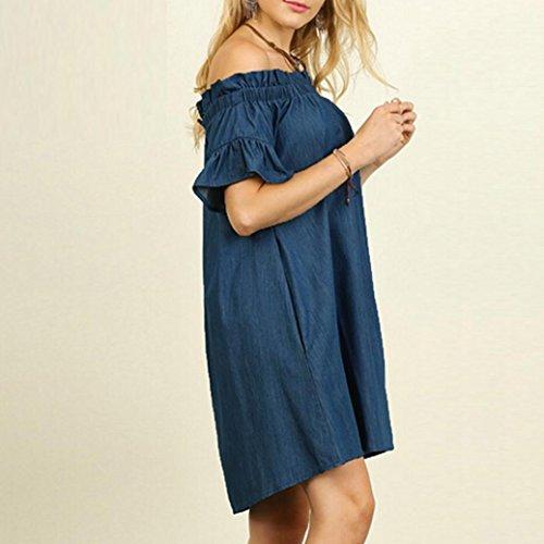 Amlaiworld Women Dresses ,Sexy Plus Size Womens Off The Shoulder Bardot Denim Look Shirt Dress Tops (XXL, Blue)