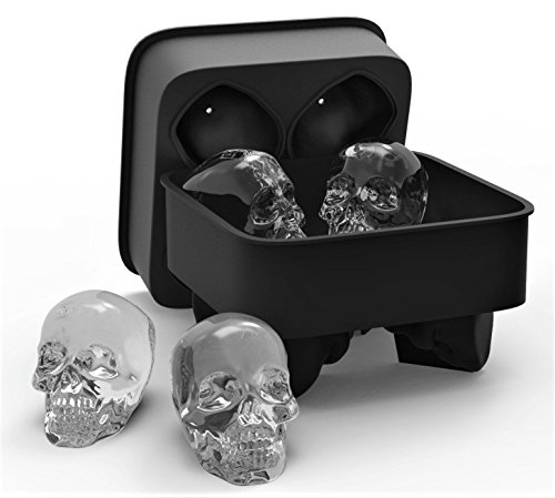 3D Skull Flexible Silikon Ice Cube Form Tablett, vier GIANT Iced Skulls einfaches Ablösen Realistische Totenkopf Ice Cube Maker BPA-frei schwarz Eis-block-maker