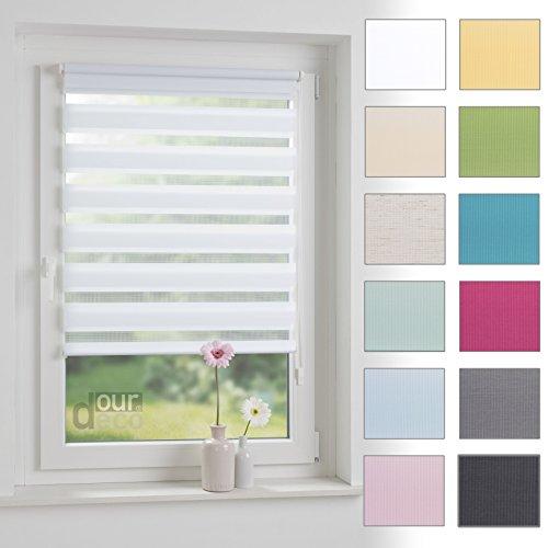 ourdeco® Doppel-Rollo, Duo-Rollo / 70 x 160 cm weiß/lichtdurchlässig, Blickdicht/Klemmen=Montage ohne Bohren=Smartfix=Klemmfix=Easy-to-fix