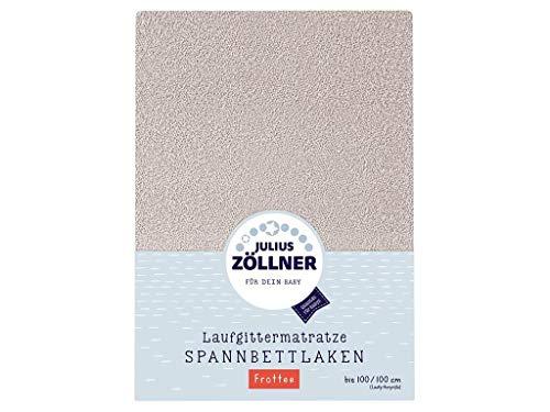 Julius Zöllner 8390349540 Frottee Spanntuch, passend für Laufgittermatratzen 68x90 bis 100x100 cm, Taupe