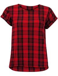 (INF) WOMENS ROLLED SHORT SLEEVE TARTAN PLAID CHECKED STRIPED LADIES TSHIRT TEE TOP   RED - Rolled CS tartan plaid tshirt   SM 8/10