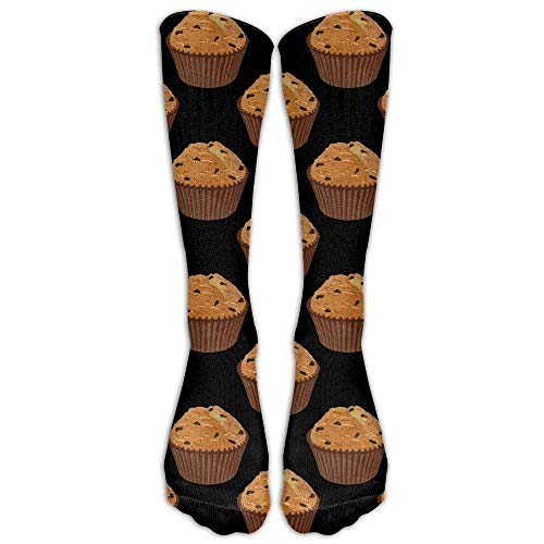 Men&Women Muffin Cake Pattern Casual Mid-calf Socks Athletic Sports Novelty Below Knee Tube Stockings One Size