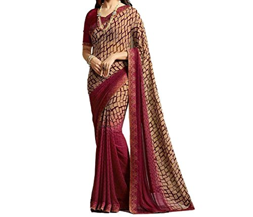 Ruchika Fashion Georgette Saree With Blouse Piece(Isha-Pink_Pink Free Size)