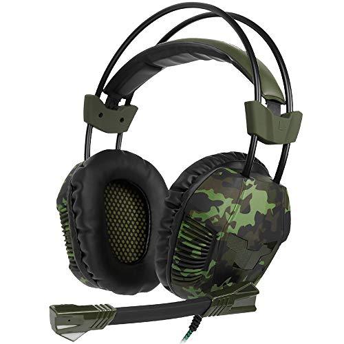 SG Head-Mounted E-Sportspiel-Headset Camouflage Army Green Kompatibel mit PC, PS4, PSP, iPad, Laptop usw,A