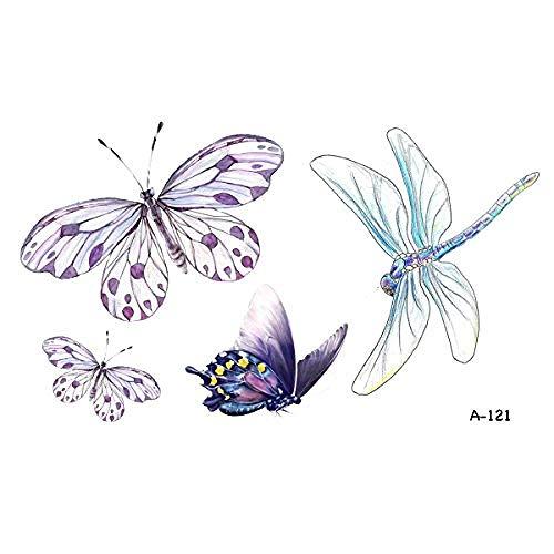 5 Blatt Wasserdicht Schmetterling Temporäre Tätowierung Libelle Gefälschte Tätowierung Aufkleber Für Frauen Männer Hand Körperkunst 9,8X6 Cm A-121