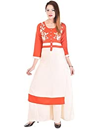 Fashion Discovery 18 Women's Straight Cotton Kurti With Solid Rayon Palazzo