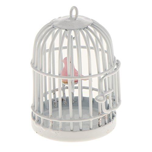 Gazechimp 1:12 Puppenhaus Dekoration - Miniatur Metall Vogelkäfig offener Tür & Vogel - Weiß & Pink - 4,5cm x 3cm