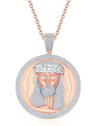 "Silvernshine Men's 1.40 Ct Round D/VVS1 Diamond Jesus Face Pendant 18"" Chain In 14K Rose Gold Fn"