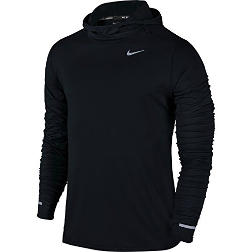 Nike Dri-Fit Element Hoodie Felpa da Running, Black/Reflective Silver, M
