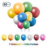 TURATA 50 pcs LED Leuchtballons Bunt 7 Farben Balloons 24 Stunden Leuchtdauer für Party Geburtstag Feiertag Hochzeit Weihnachten