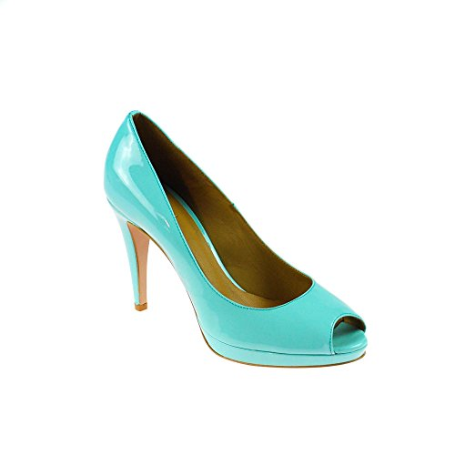 GINO ROSSI Damen Pumps Leder Lack Blau Türkis, Schuhgröße:40
