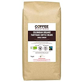 Coffee Masters Colombian Organic Fairtrade Coffee Beans 1kg – Great Taste Award Winner 2019