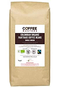 Coffee Masters Colombian Organic Fairtrade Coffee Beans 1kg - New