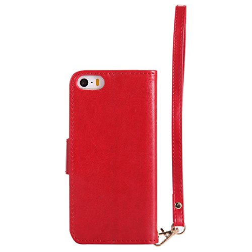Custodia iPhone 5S, iPhone SE Flip Case Leather, SainCat Custodia in Pelle Cover per iPhone 5/5S/SE, Bling Glitter Anti-Scratch Book Style Protettiva Caso PU Leather Flip Portafoglio Custodia Libro Pr Rosso