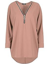 Be Jealous Womens Batwing Sleeve Knit Zip Up Lagenlook Oversized Baggy Hi Lo Jumper Top UK Plus Size 8-26