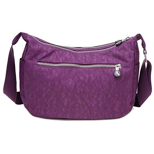 Outreo Umhängetasche Kleine Schultertasche Leichter Wasserdicht Designer Messenger Bag Sporttasche Mode Taschen Damen Kuriertasche für Mädchen Lila