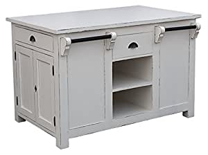 Ilôt central de cuisine 4 tiroirs 4 niches 2 placards 2 étagères 135x85x90 cm - meuble personnalisable