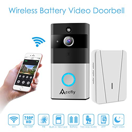 Video Doorbell, Accfly 720P HD WIFI Security Camera with Chime 16G Card 2 Batteries, Real-Time 2-Way Talk & Video, Night Vision,166°Wide Angle PIR Motion Detection and APP Control for IOS Android