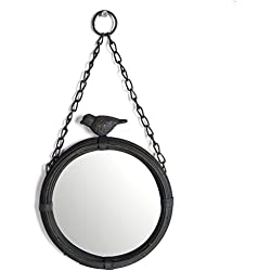 NIKKY HOME Shabby Chic pared de metal colgante espejo redondo con gorrión, negro mate