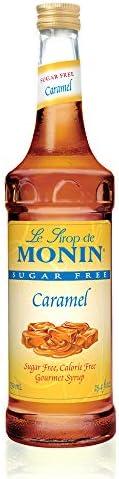 Monin Caramel Sugar Free Syrup In Glass Bottle USA, 750 ml