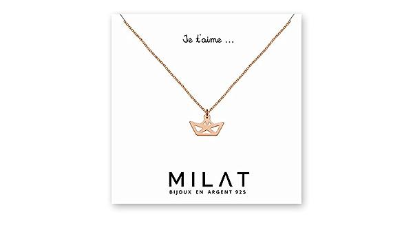 or LUUK LIFESTYLE Collier en acier inoxydable avec pendentif et bonheur carte de citation argent bijoux pour femmes porte-bonheur rose