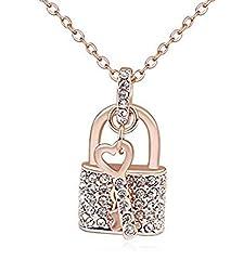 Idea Regalo - DIOOR gioielli per le donne regali per donna, cristallo/argento/oro ciondolo collana chiave lucchetto ciondolo collana placcata oro